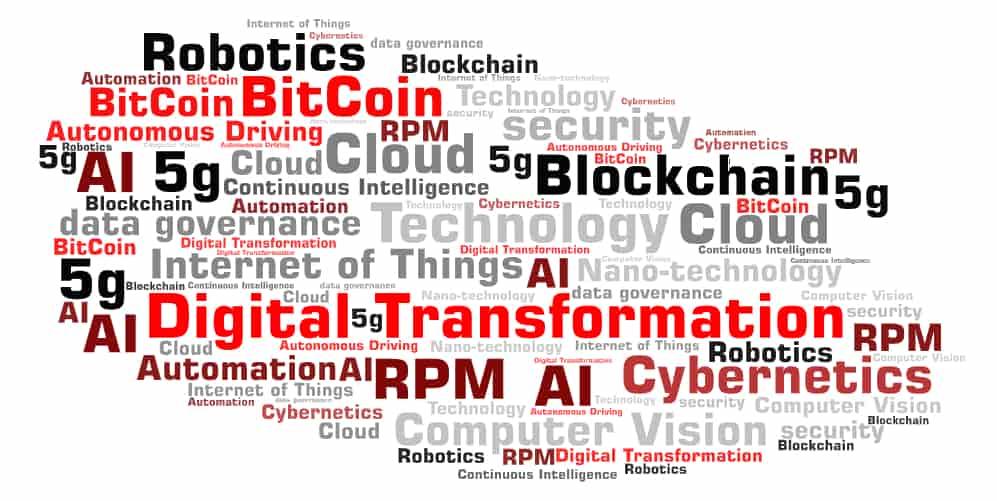 Digital Transformation Blockchain Word Art